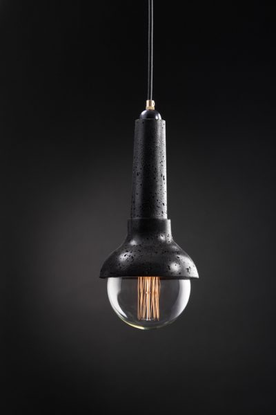 Damio black concrete lamp made by vaspi studio - Yoav vaspi yanai